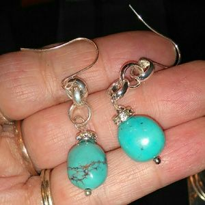 Jewelry - 3/25 Composed Turquoise Rhodium plated earrings